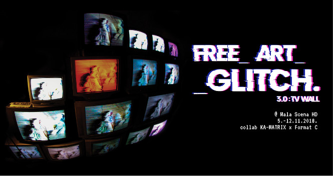 free art glitch tv wall
